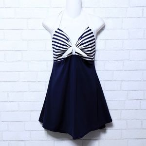 Cocoship Halter Sailor Pinup Skirted Swimsuit L